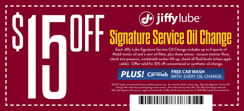 Jiffy Lube Coupon Save $15